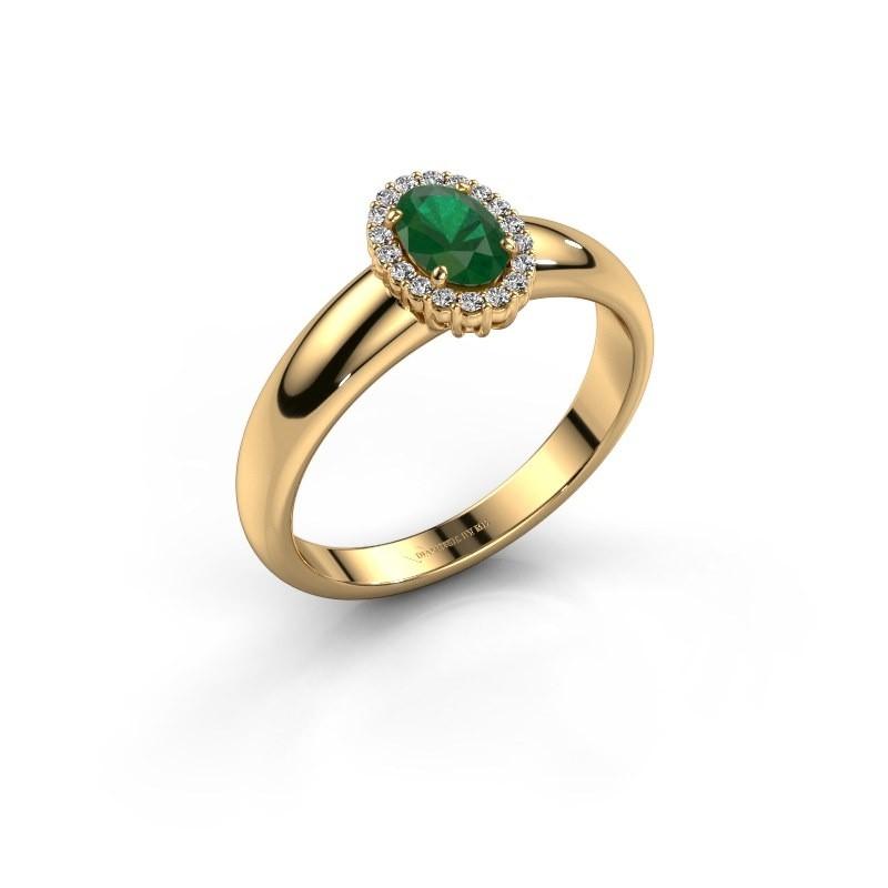 Verlovingsring Tamie 375 goud smaragd 6x4 mm