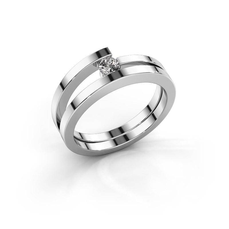 Ring Sandy 585 witgoud zirkonia 3.4 mm