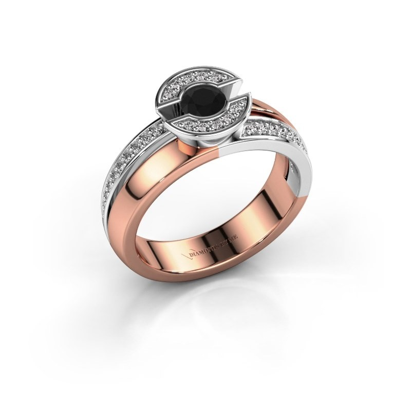 Ring Jeanet 2 585 rose gold black diamond 0.450 crt