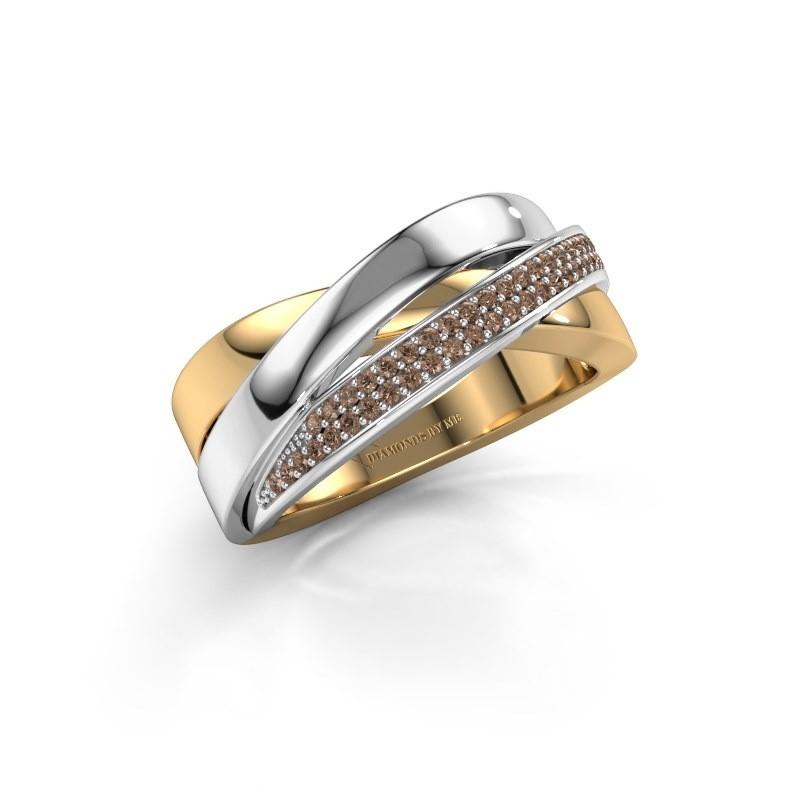 Ring Katherina 585 goud bruine diamant 0.255 crt