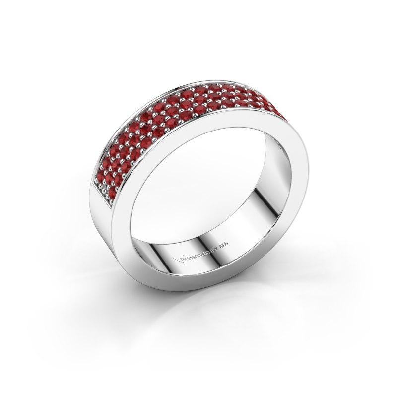 Ring Lindsey 4 950 platina robijn 1.3 mm