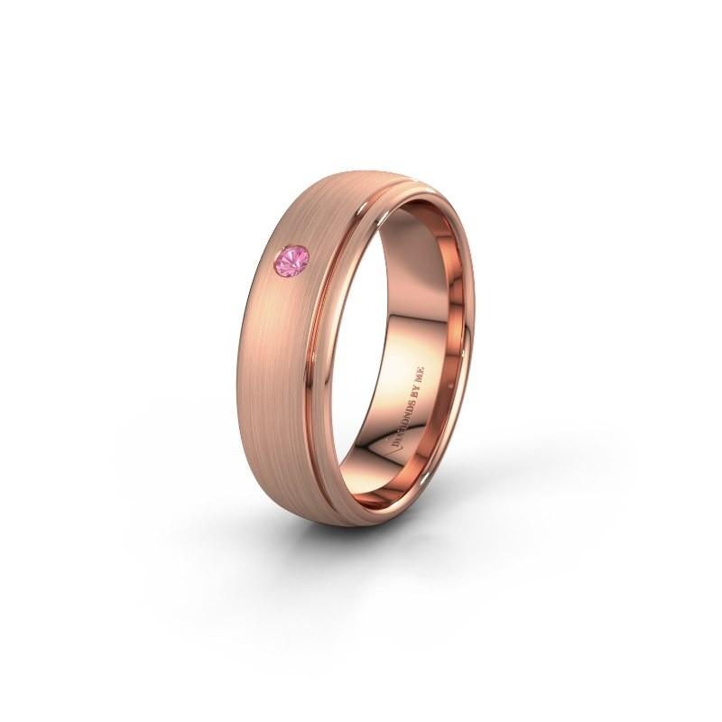 Trouwring WH0501L36AM 585 rosé goud roze saffier ±6x1.7 mm