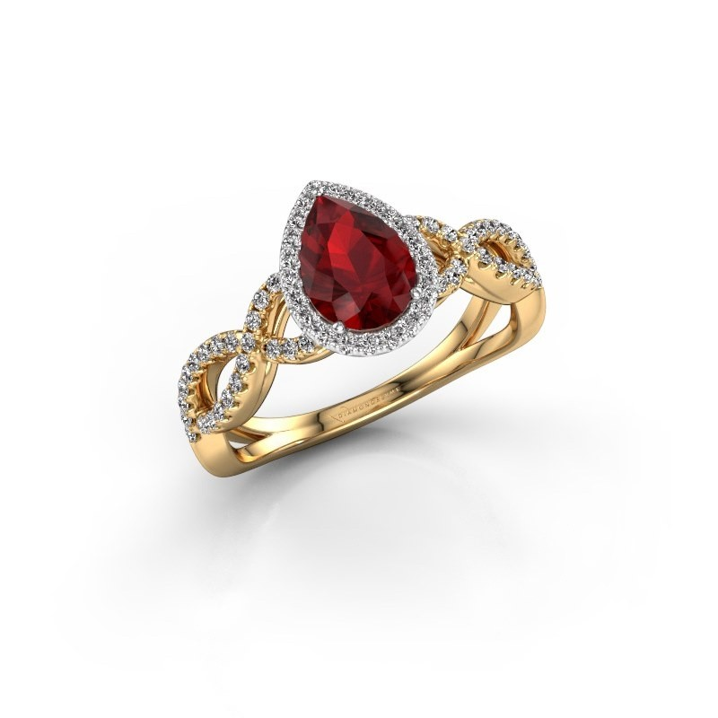 Engagement ring Dionne pear 585 gold ruby 7x5 mm