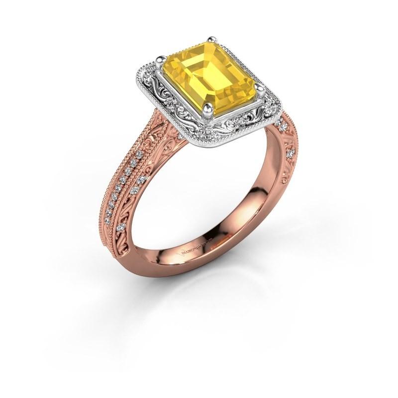 Verlovings ring Alice EME 585 rosé goud gele saffier 7x5 mm