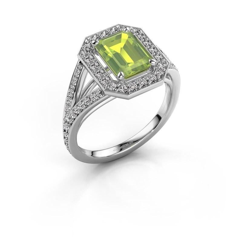Promise ring Angelita EME 950 platina peridoot 8x6 mm