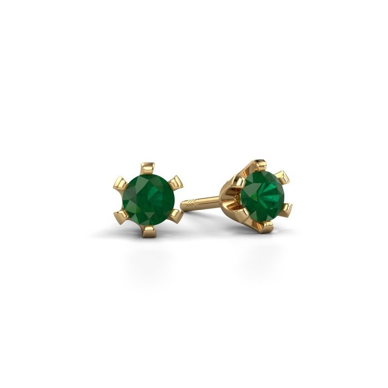 Oorstekers Shana 375 goud smaragd 4 mm