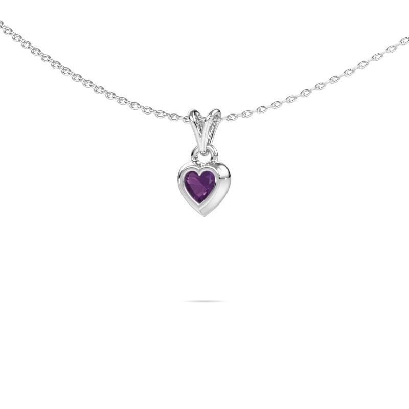 Hanger Charlotte Heart 925 zilver amethist 4 mm