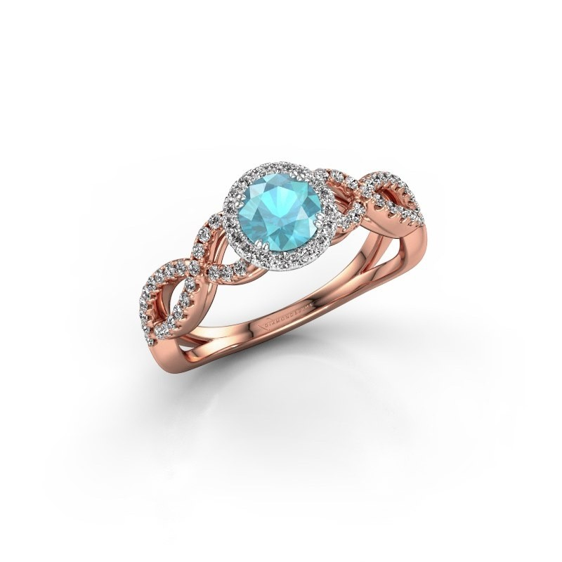 Engagement ring Dionne rnd 585 rose gold blue topaz 5 mm