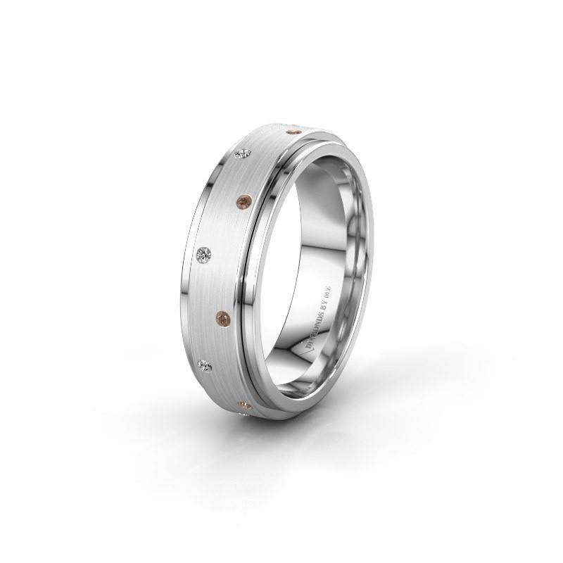 Wedding ring WH2134L 925 silver brown diamond ±6x2.2 mm