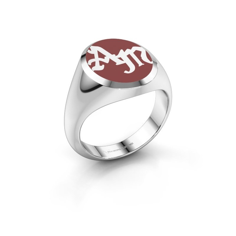 Monogram ring Brad Emaille 375 witgoud
