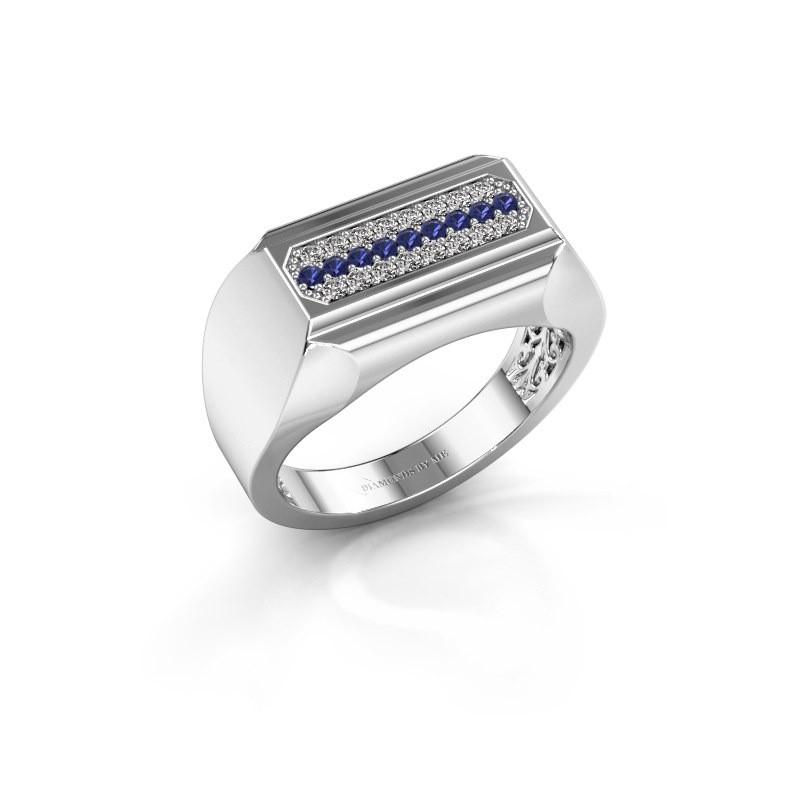 Heren ring Gerard 585 witgoud saffier 1.4 mm