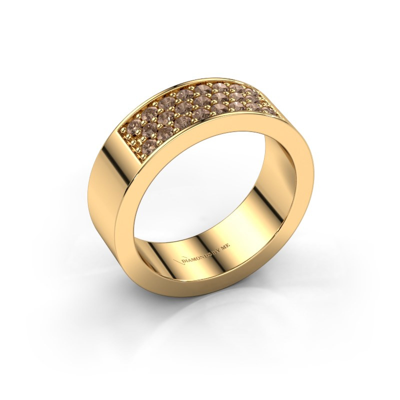 Ring Lindsey 5 585 goud bruine diamant 0.46 crt