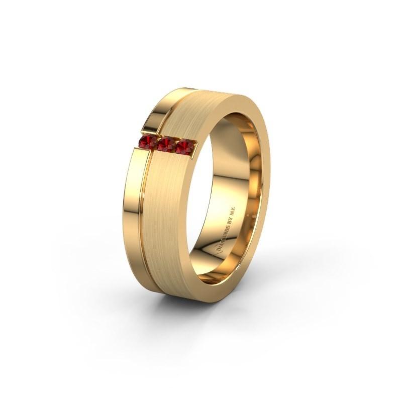 Trouwring WH0327L16B 585 goud granaat ±6x2 mm