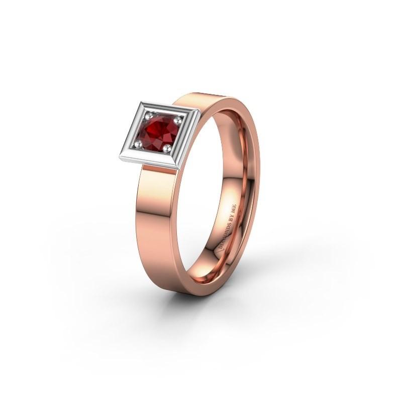 Trouwring WH2112L14A 585 rosé goud robijn ±4x1.7 mm