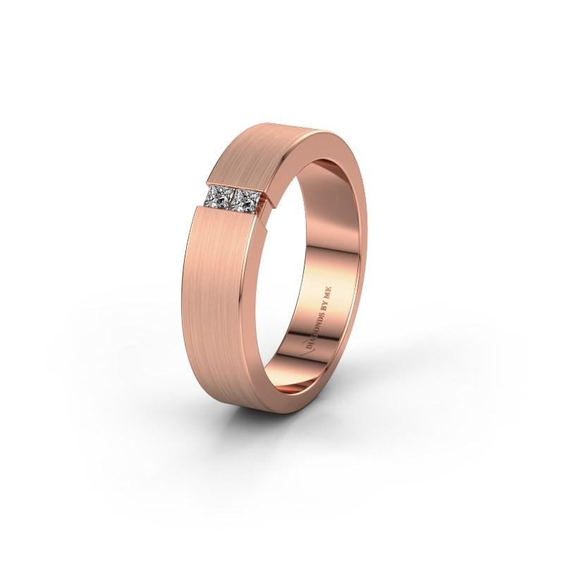 Trouwring WH2136L15E 375 rosé goud zirkonia ±5x2.6 mm