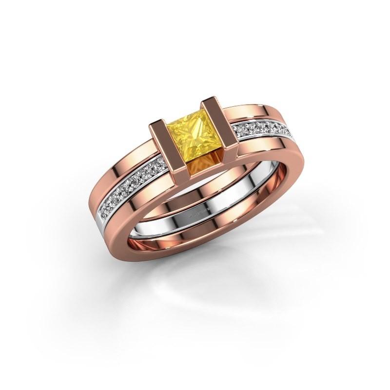 Ring Desire 585 rosé goud gele saffier 4 mm
