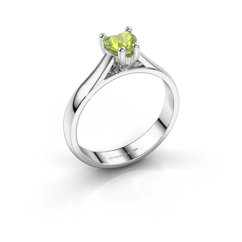 Verlobungsring Sam Heart 585 Weißgold Peridot 5 mm