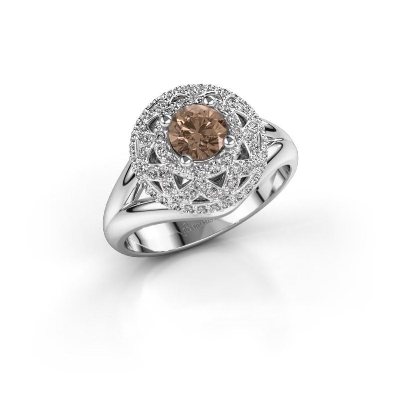 Ring Leonora 585 witgoud bruine diamant 0.88 crt