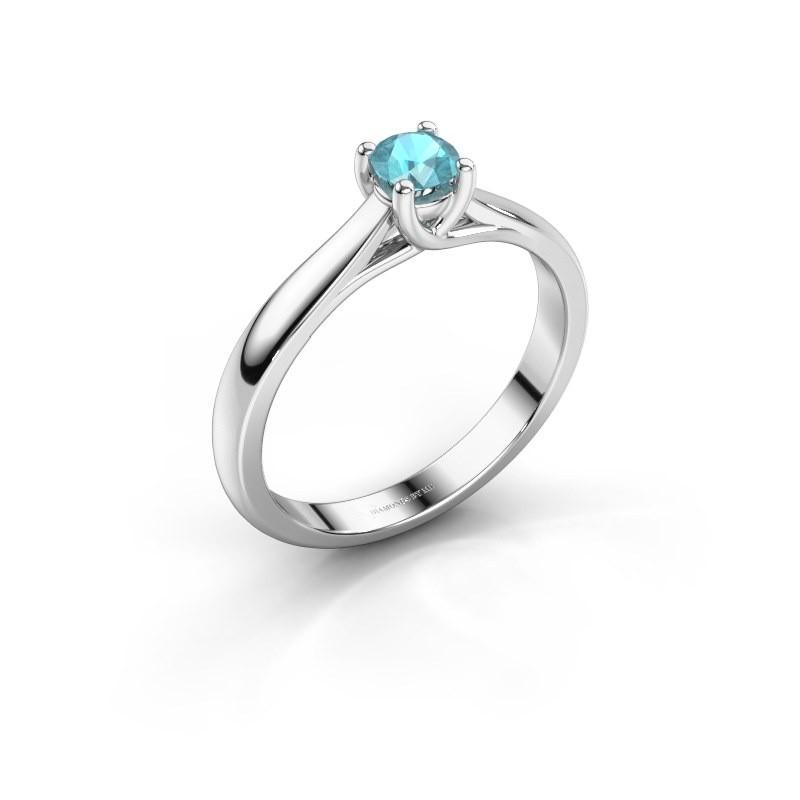 Verlobungsring Mia 1 925 Silber Blau Topas 4 mm