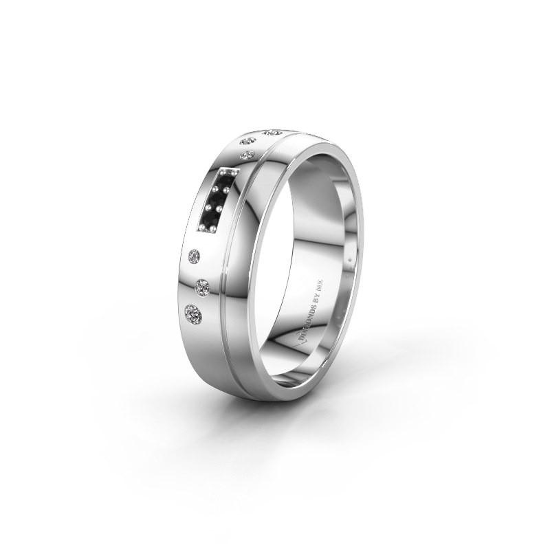 Trouwring WH0310L26AP 925 zilver zwarte diamant ±6x1.7 mm