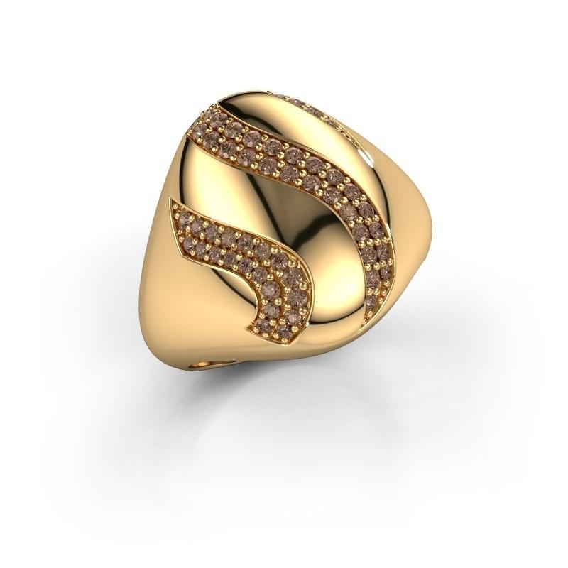 Ring Vilma 375 goud bruine diamant 0.333 crt