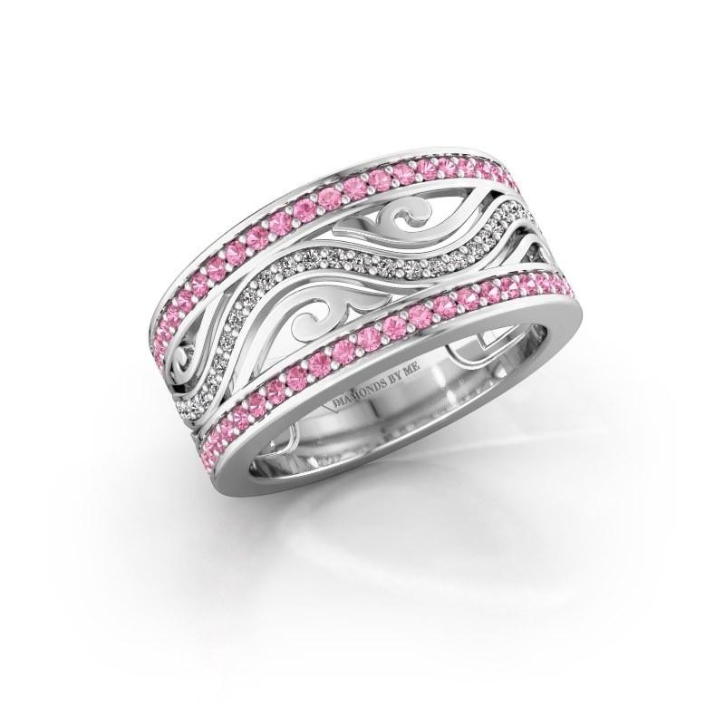 Ring Louvenia 585 witgoud roze saffier 1.2 mm