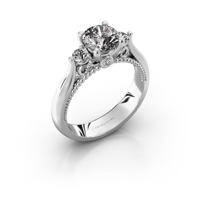 Verlovingsring Tiffani 585 witgoud diamant 1.24 crt