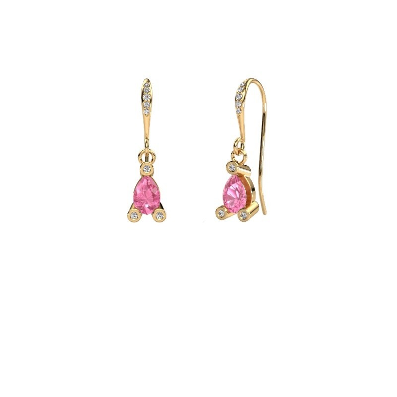 Drop earrings Bunny 2 585 gold pink sapphire 7x5 mm