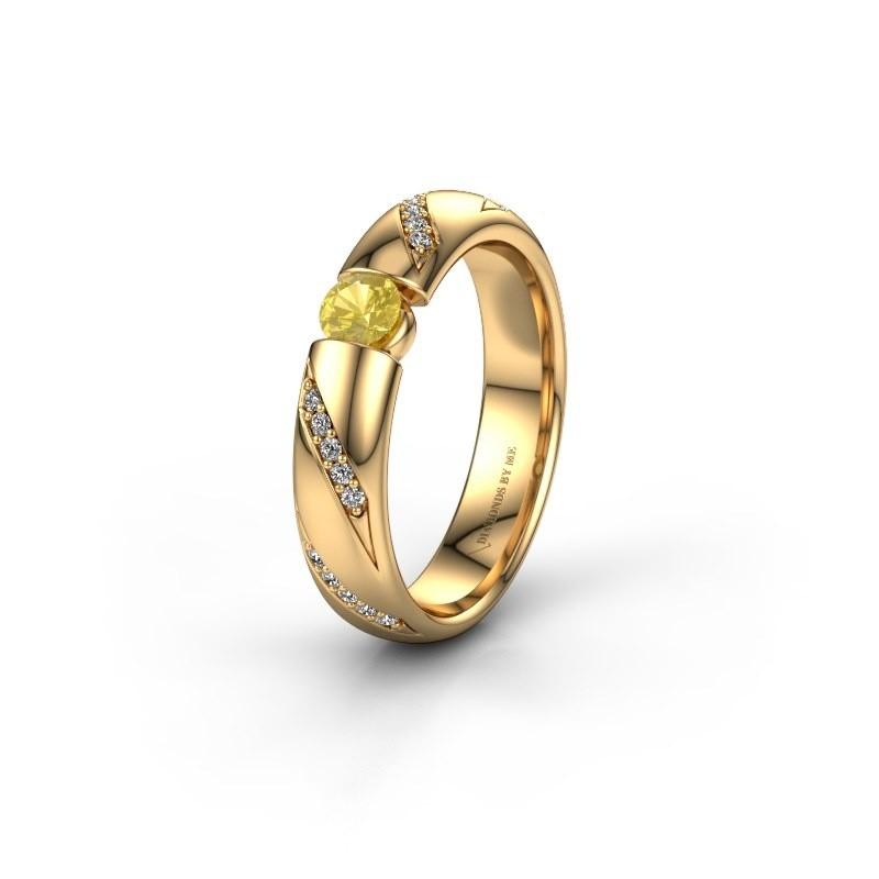 Trouwring WH2102L34A 375 goud gele saffier ±4x1.7 mm