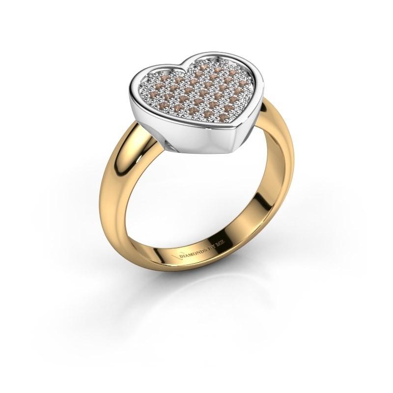 Ring Veerle 585 goud bruine diamant 0.15 crt