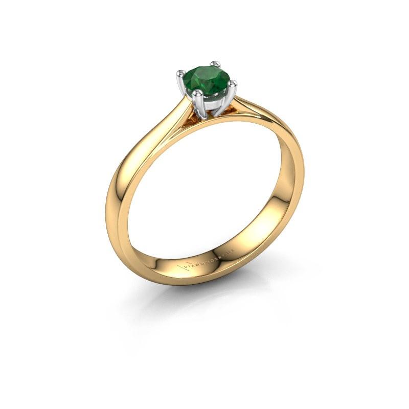 Engagement ring Sam 585 gold emerald 4.2 mm