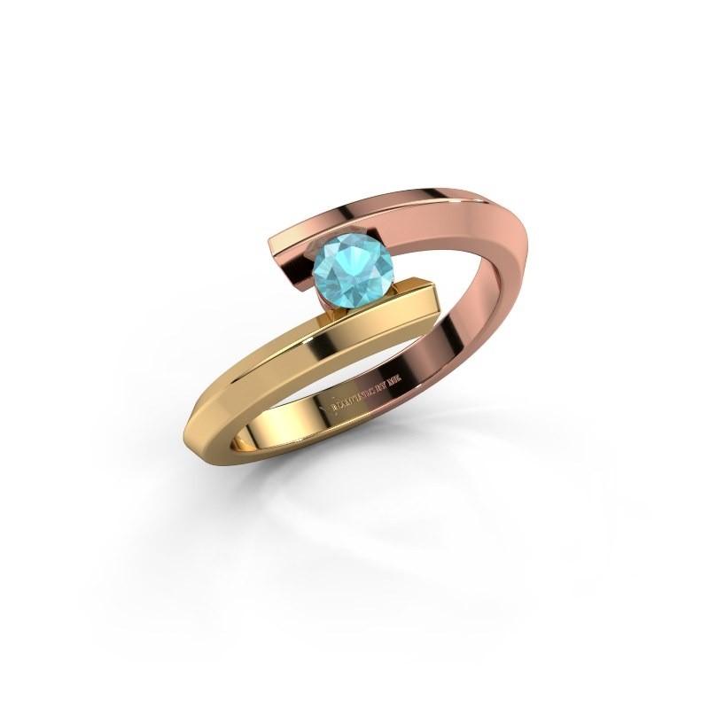 Ring Paulette 585 rosé goud blauw topaas 3.4 mm