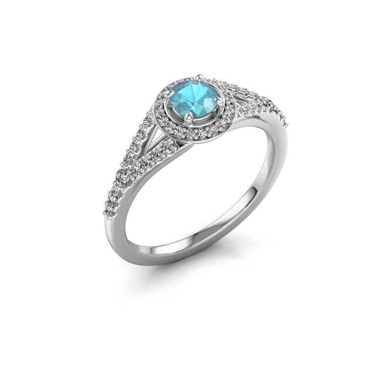 Verlovingsring Pamela RND 585 witgoud blauw topaas 4 mm