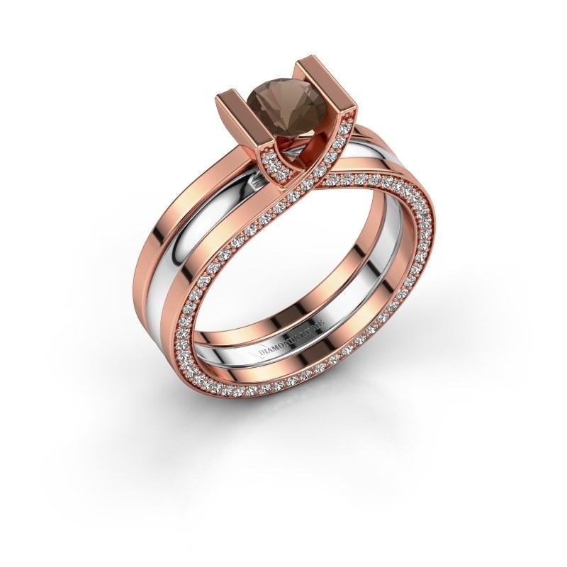 Verlovingsring Kenisha 585 rosé goud rookkwarts 5 mm