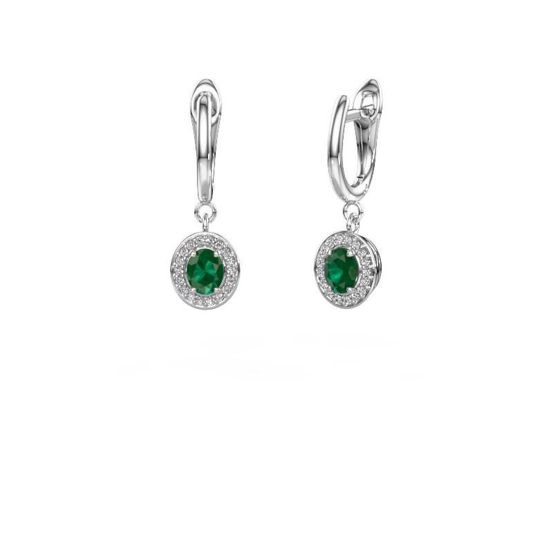 Oorhangers Nakita 585 witgoud smaragd 5x4 mm