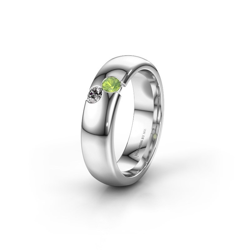 Wedding ring WH1003L26C 585 white gold peridot ±0.24x0.09in