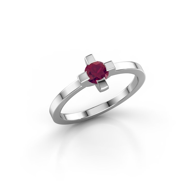 Ring Therese 585 witgoud rhodoliet 4.2 mm