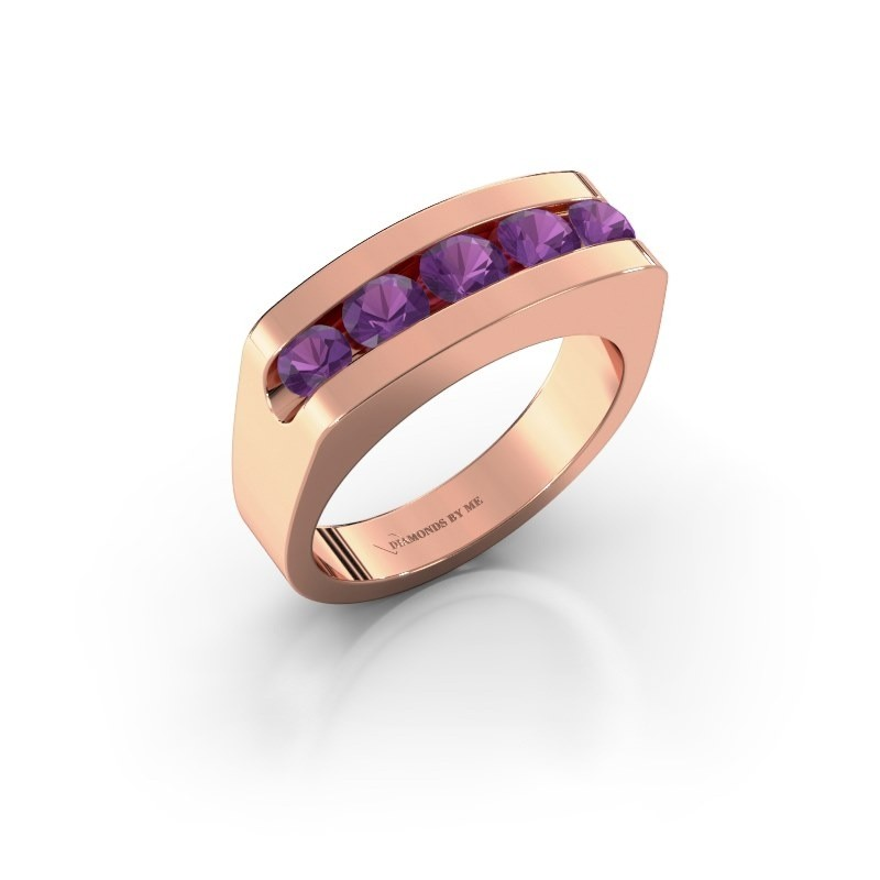 Men's ring Richard 375 rose gold amethyst 4 mm