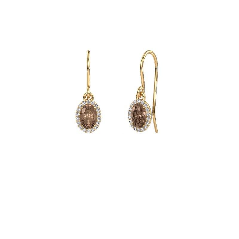 Oorhangers Seline ovl 375 goud bruine diamant 1.16 crt
