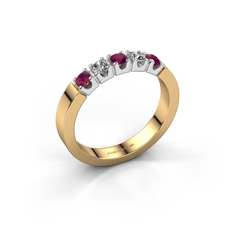 Engagement ring Dana 5 585 gold rhodolite 3 mm