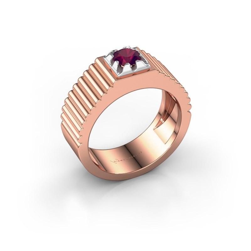 Pink ring Elias 585 rosé goud rhodoliet 5 mm