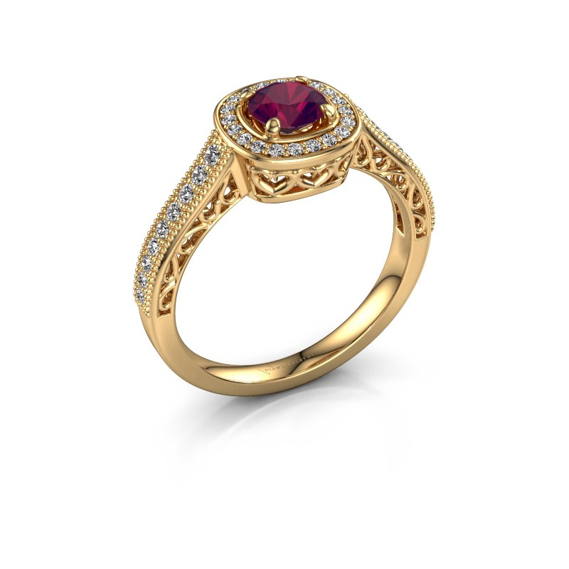 Engagement ring Candi 375 gold rhodolite 5 mm