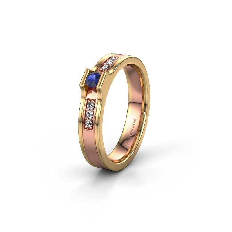 Trouwring WH2110L14A 585 rosé goud saffier ±4x1.7 mm