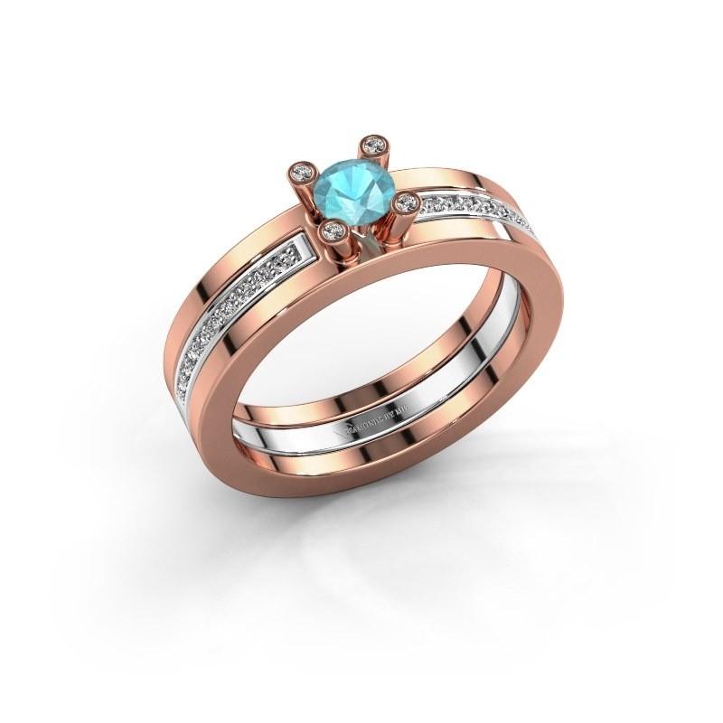 Ring Alisha 585 rosé goud blauw topaas 4 mm