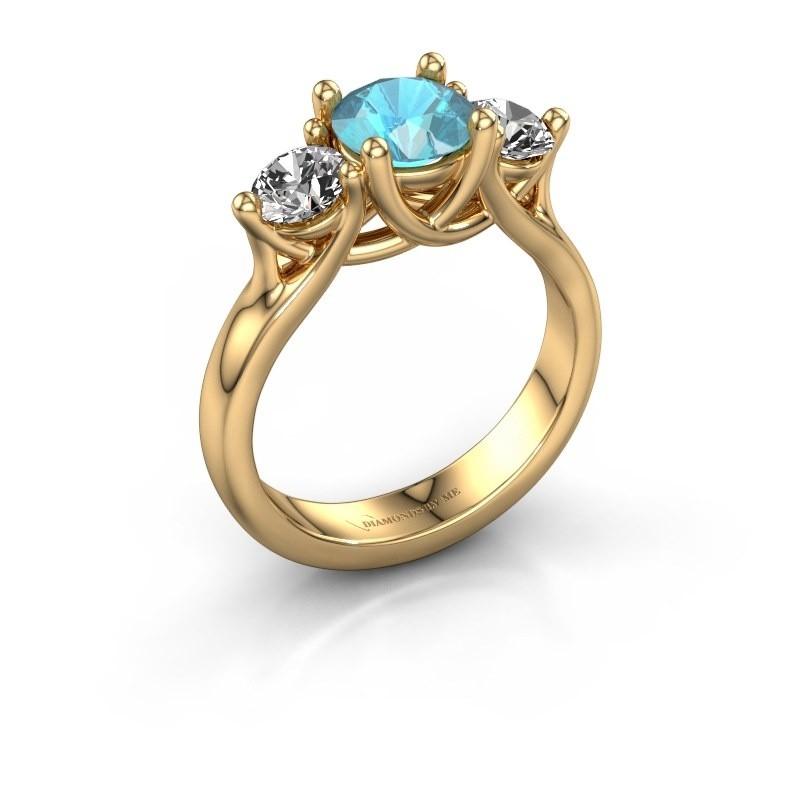 Engagement ring Esila 375 gold blue topaz 6.5 mm