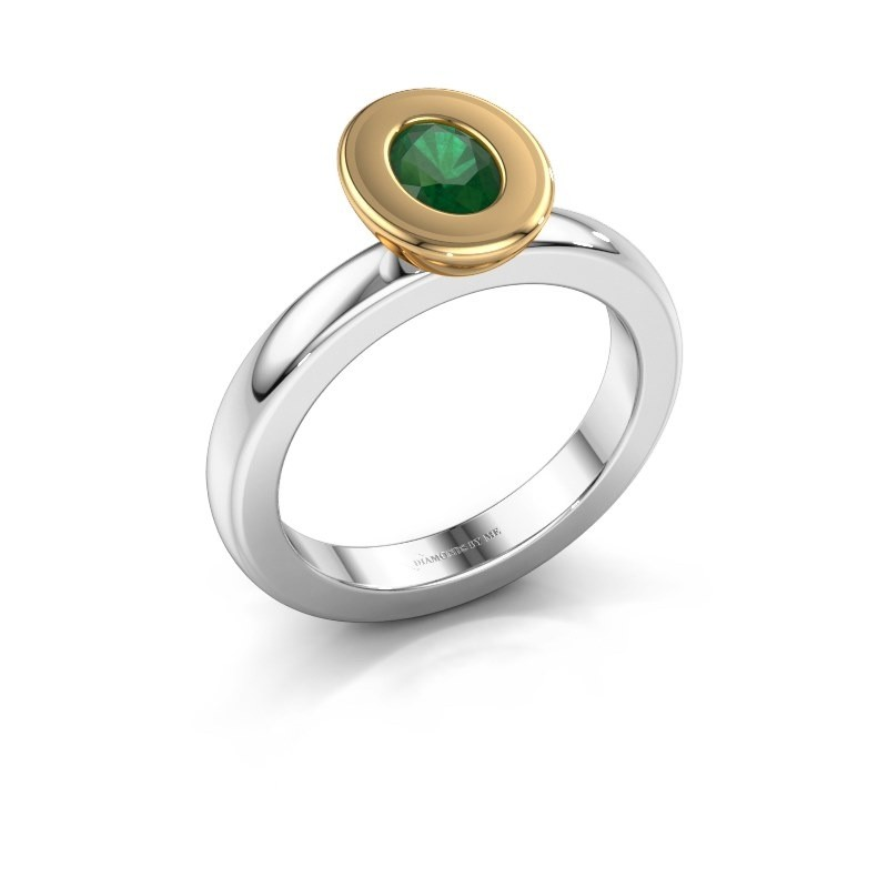 Stapelring Eloise Oval 585 witgoud smaragd 6x4 mm