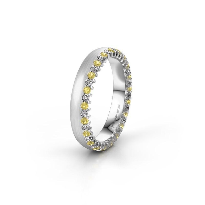 Wedding ring WH2138L24B 585 white gold yellow sapphire ±4x2 mm