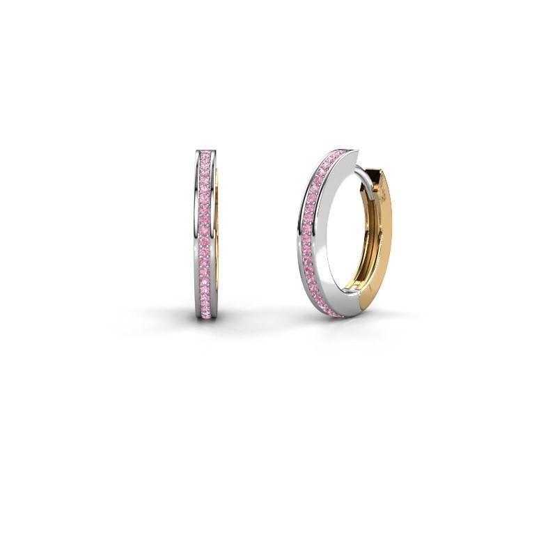 Creolen Renee 4 12 mm 585 witgoud roze saffier 1 mm