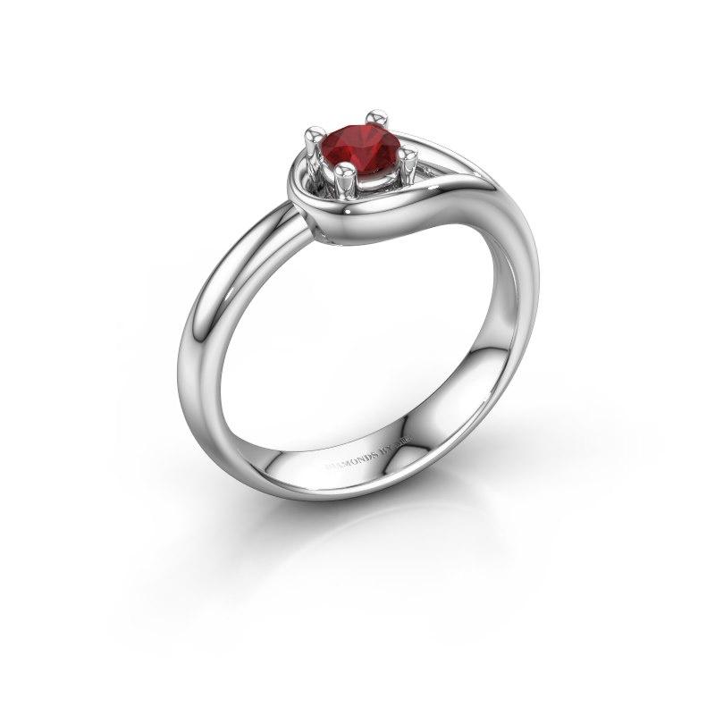 Ring Fabienne 925 zilver robijn 4 mm