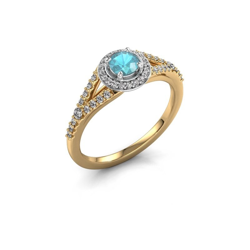 Verlovingsring Pamela RND 585 goud blauw topaas 4 mm